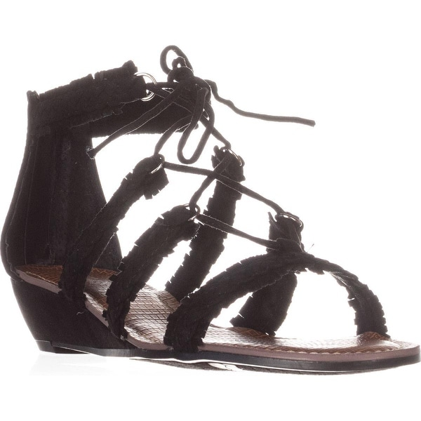 Carlos by Carlos Santana Kenzie Flat Lace-Up Sandals, Black