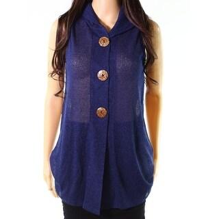 Trisha Tyler Blue Women's Size XS Button-Front Sheer Knit Top