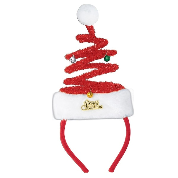 Pack of 12 Springy Santa Snap-on Christmas Headbands One Size Fits Most - RED