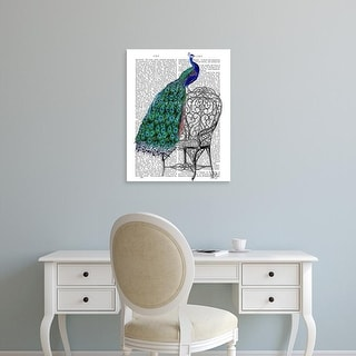 Easy Art Prints Fab Funky's 'Peacock on Chair' Premium Canvas Art