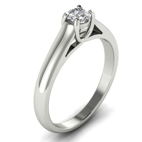 0.35 CT Four-Prong Classic Solitaire Engagement Dimaond Ring in 14KT
