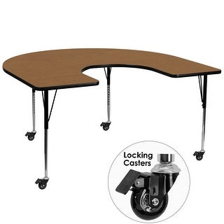"""Delacora FF-XU-A6066-HRSE-T-A-CAS-GG  60"""" Wide Steel Framed Wood Top Adjustable Activity Table with Locking Casters"""
