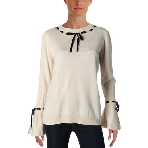 Ivanka Trump Womens Crewneck Sweater Lace-Up Bell Sleeve