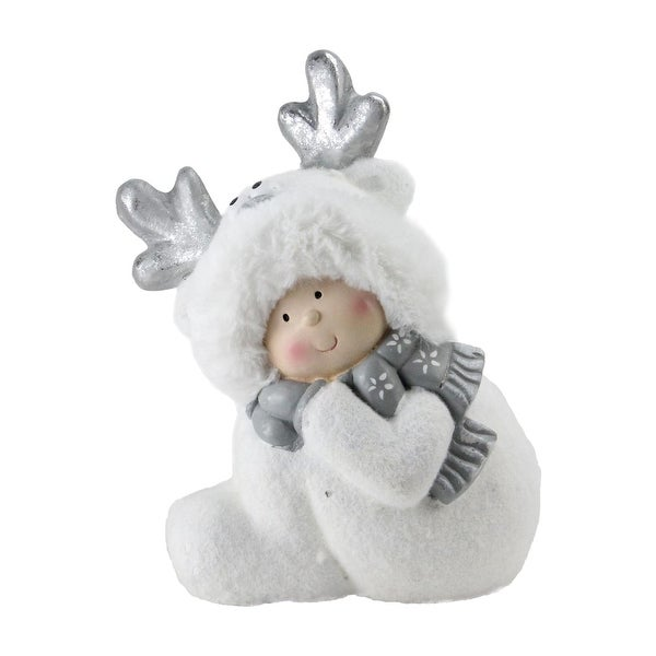 """12.5"""" Smiling Child in White Reindeer Snow Suit Christmas Tabletop Decoration"""
