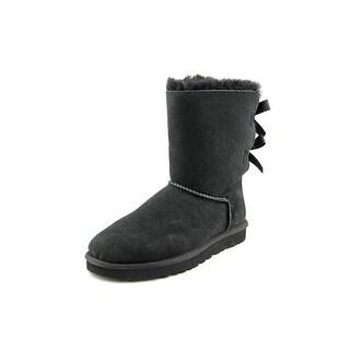 Ugg Australia Bailey Bow Women Round Toe Suede Black Winter Boot