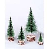 "3"" Green Frosted Artificial Village Christmas Tree - Unlit"