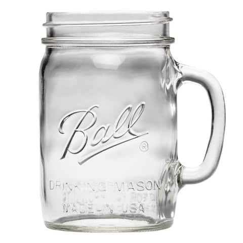 Ball 1440016010 Wide Mouth Glass Drinking Mason Jar, 24 Oz