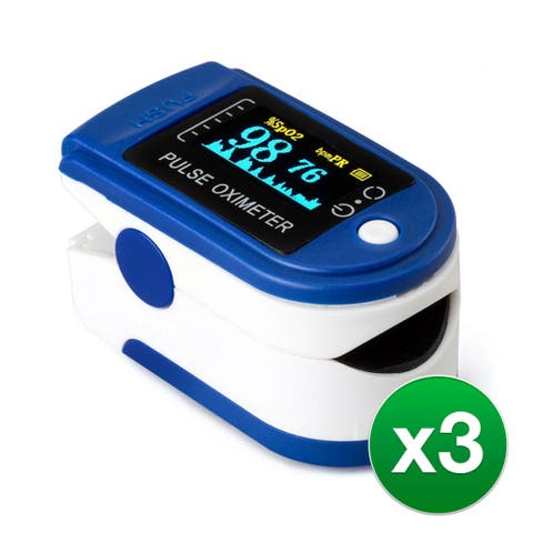 Pulse Oximeter, Blood Oxygen Saturation SpO2 & Heart Rate Monitor (3) - Blue