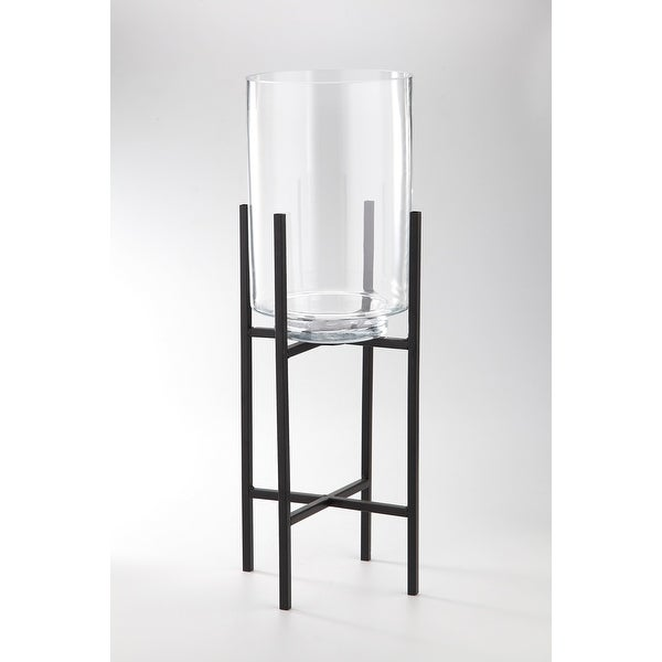 """23.5"""" Clear and Black Cylinder Handblown Glass Tabletop Decor with Holder - N/A"""