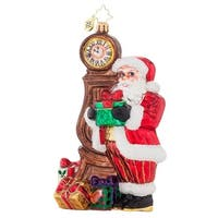 Christopher Radko Glass In Time for Christmas Santa Claus Holiday Ornament #1017877