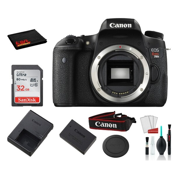 Canon EOS Rebel T6s Digital SLR Camera (Black, Body Only) with. Opens flyout.