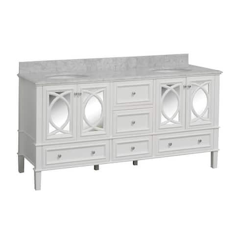 "KitchenBathCollection Olivia 72"" Double Bathroom Vanity with Carrara Marble Top"