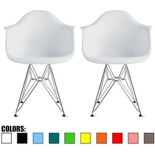 2xhome Set of 2 Plastic Eiffel Chair Molded Shell Retro Dining Chairs Accent For Living Room Kitchen Chrome Desk Designer Office