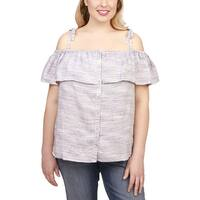 Lucky Brand Womens Plus Pullover Top Linen Off-The-Shoulder