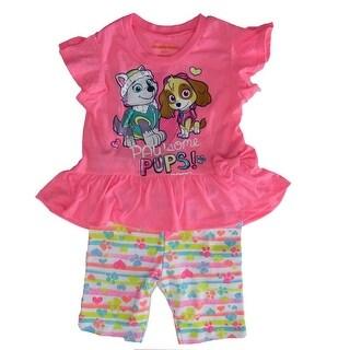Nickelodeon Little Girls Pink Paw Patrol Print Short Sleeve 2 Pcs Outfit