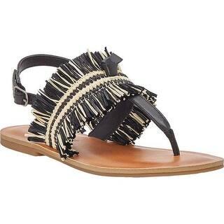 5455cbbb49e540 Lucky Brand Women s Akerlei Thong Sandal Black Natural Textile