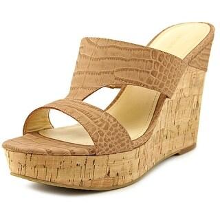 Ivanka Trump Hotty Women Open Toe Leather Tan Wedge Sandal