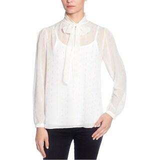 Catherine Malandrino Womens Bow-Neck Knit Blouse, white, X-Large