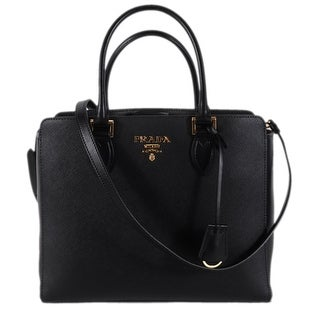 Prada 1BA189 Black Saffiano Leather Metal Plaque Convertible Purse Handbag