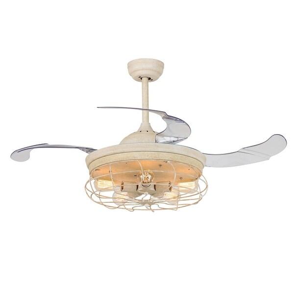Vintage foldable 4 blades disressed white ceiling fan with 5 lights vintage foldable 4 blades disressed white ceiling fan with 5 lights aloadofball Choice Image