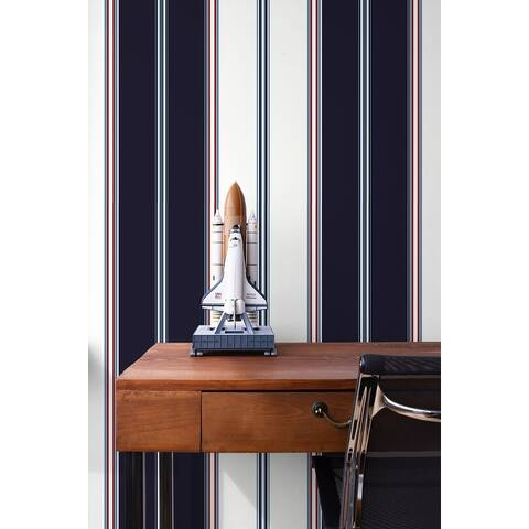 Seabrook Designs Tailored Stripe Unpasted Wallpaper