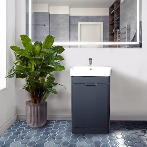 Highpoint Collection Dark Gray Glossy Modern Floor Vanity Single Door