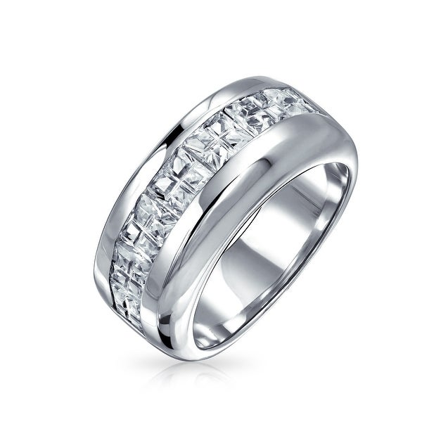 925 Sterling Silver Women/'s Wedding Band AAA CZ Bridal Engagement Ring 3pc Set
