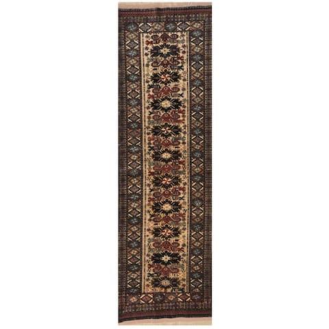 Handmade One-of-a-Kind 1960's Turkoman Wool & Silk Runner - 2'10 x 9'8