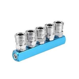 """1/4"""" G Thread 5 Way Air Hose Quick Coupler Pass Air Hose Coupling Tool  3Pcs - Straight 5 Ways 1/4"""" G 3pcs"""