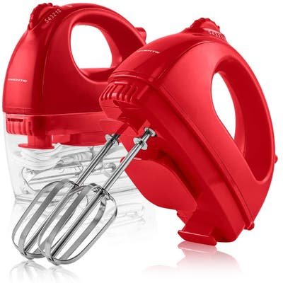 Ovente Portable Electric Hand Mixer 5 Speed Mixing with 2 Chrome Beater Attachments & Snap Clear Case, 150 Watts, HM161