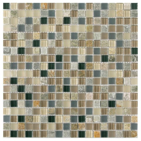 The Tile Life Victory Glass Grid Mosaic Tile(11 Pieces/11 sq ft)