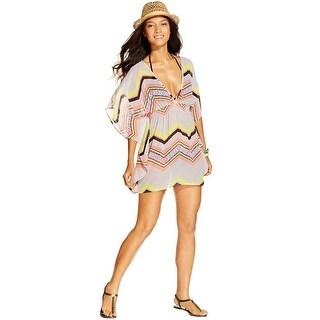 Miken Swim Womens Chevron Print Cover Up Tunic Multi-Color Small S