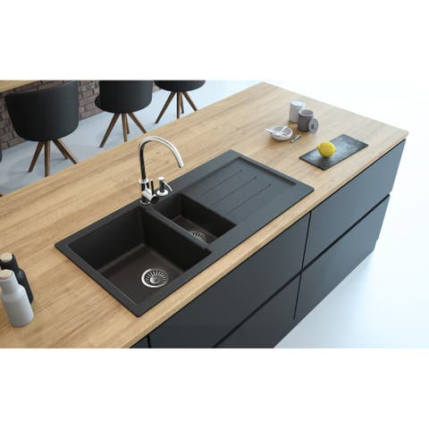 "Lavello Granite Composite 39"" Drop in with Drainboard Double Bowl Kitchen Sink Marcello Right-1 Hole"
