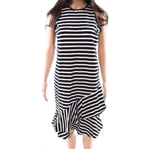 LAUREN BY RALPH LAUREN White Women XXL Plus Striped Sheath Dress
