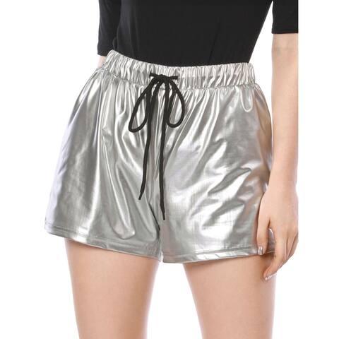 Women Drawstring Elastic Waist Metallic Short Shorts