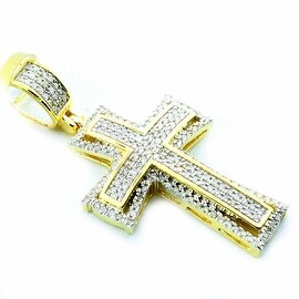 10K Gold Cross Charm Pendant 1/3ctw Diamonds 24mm Tall( 0.33cttw) By MidwestJewellery - White