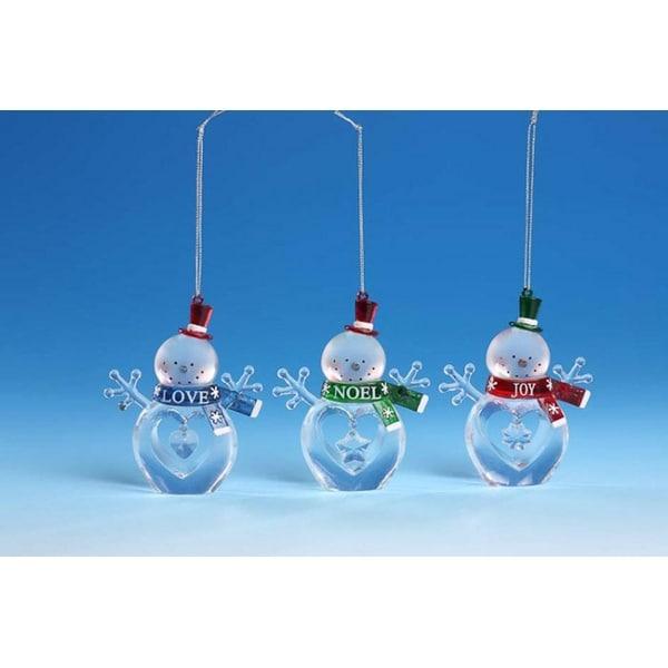 """Club Pack of 12 Icy Crystal Christmas Joy, Love & Noel Snowmen Figurines 4"""""""