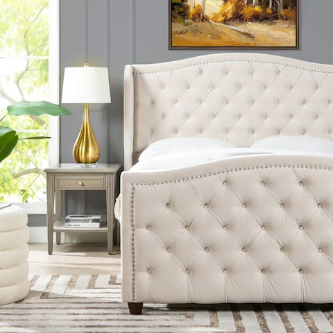 Gracewood Hollow Stanford Contemporary Tufted Wingback Bed