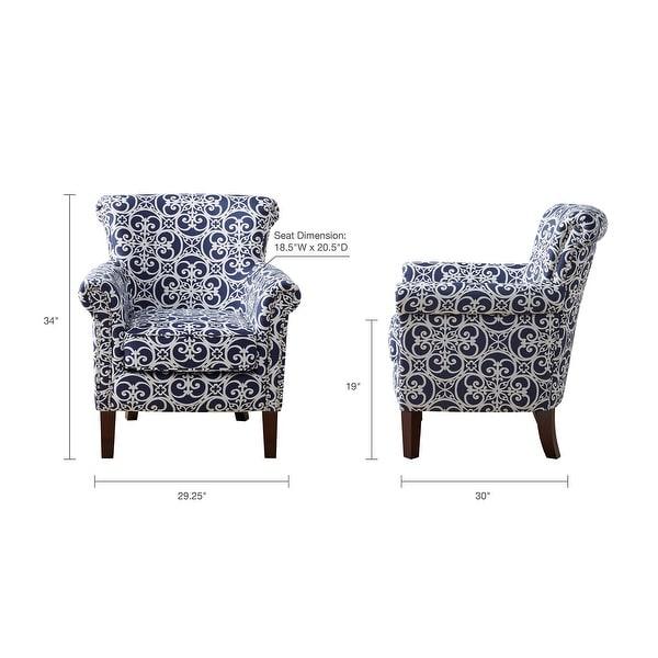 Madison Park Miri Navy/White Tight Back Club Chair