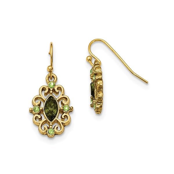 Goldtone Light and Dark Yellow Crystal Circle Drop Earrings