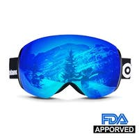 Odoland Larger Spherical Frameless Ski goggles for Men Women S2 OTG Double Lens UV400 Protection Anti-Fogging