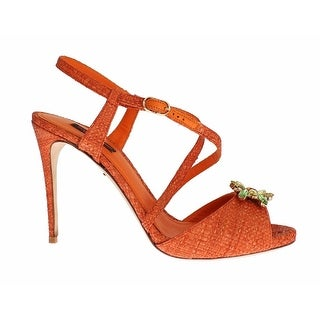 Dolce & Gabbana Paglia Crystal Embellished KEIRA Sandals - 39