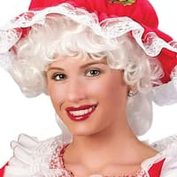 Mrs. Santa Claus Curly White Christmas Wig Accessory - One Size Fits Most