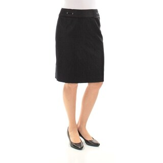 Womens Navy Knee Length A-Line Wear To Work Skirt Petites Size 4