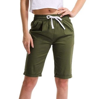 Drawstring Elastic Waist Knee Length Shorts