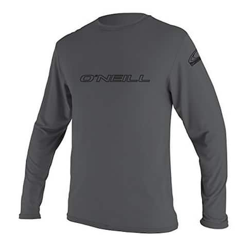 Oneill Mens Basic Skins Long Sleeve Rashguards, Smoke, Xxl