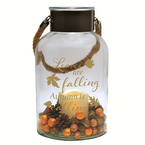 "6"" Clear Autumn Harvest Glass LED Canister"