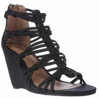 Mia Dylon Wedge Strappy Sandals, Black Vintage Lizard