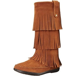 Rampage Womens Clara Mid-Calf Boots Faux Suede Fringe - 7.5 medium (b,m)