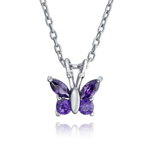 Tiny Purple Butterfly Imitation Amethyst Rose Gold Plated CZ Pendant